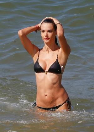 Alessandra Ambrosio in Black Bikini -07