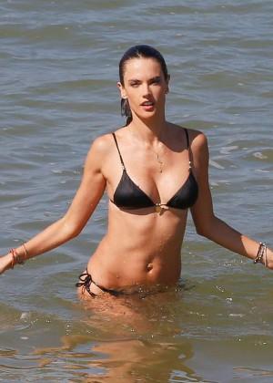 Alessandra Ambrosio in Black Bikini -09