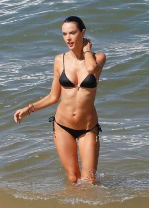 Alessandra Ambrosio in Black Bikini -10