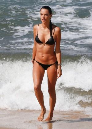 Alessandra Ambrosio in Black Bikini -14