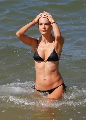 Alessandra Ambrosio in Black Bikini -16