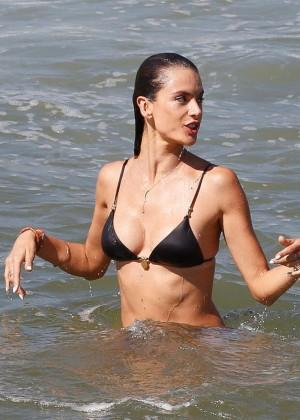Alessandra Ambrosio in Black Bikini -17