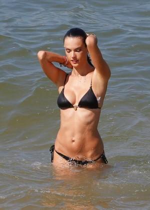Alessandra Ambrosio in Black Bikini -23