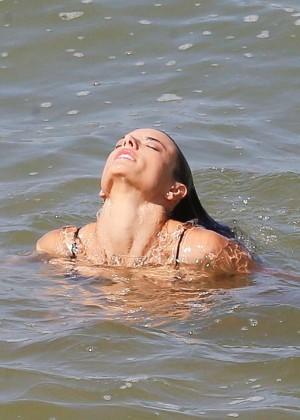 Alessandra Ambrosio in Black Bikini -25