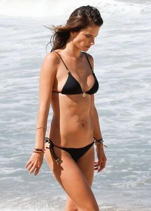 Alessandra Ambrosio in Black Bikini -26
