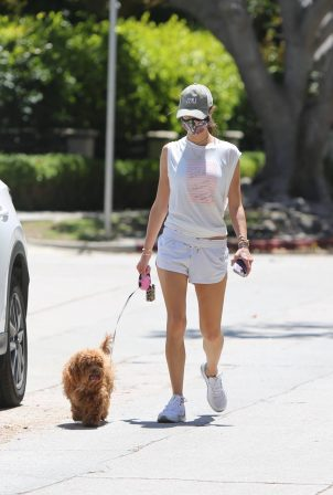Alessandra Ambrosio - Wearing white shorts while walking her dog in Brentwood