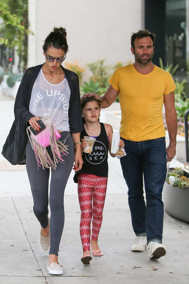 Alessandra Ambrosio with family out in Los Angeles