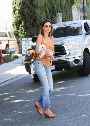 Alessandra Ambrosio with her dog Lola Along in Beverly Hills