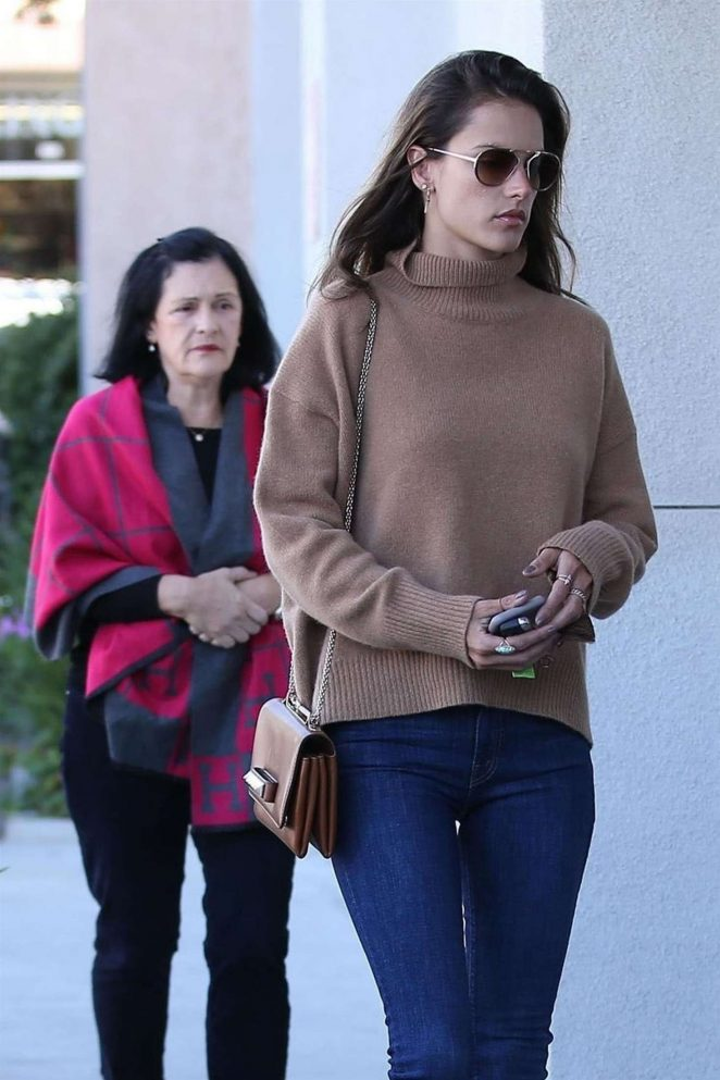 Alessandra Ambrosio with her mom at the Range Rover Dealership in Santa Monica