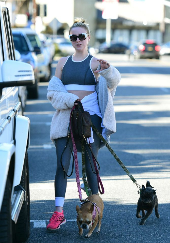 Alessandra Torresani - Walking her dogs in Los Angeles