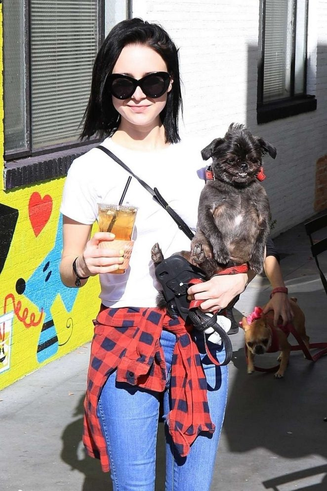 Alessandra Torresani with her dog at Farmers Market in Studio City