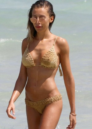 AlesAlessia Tedeschi in Gold Bikini in Miami