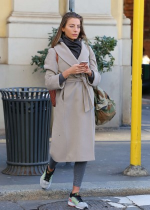 Alessia Tedeschi in Long Coat out in Milan