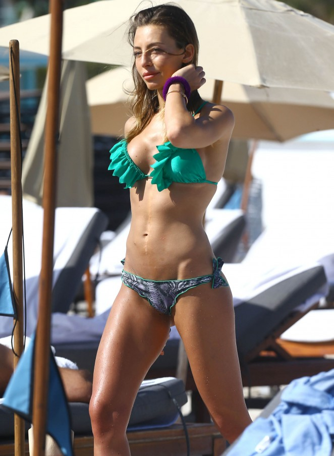 Alessia Tedeschi in Green Bikini on Miami Beach