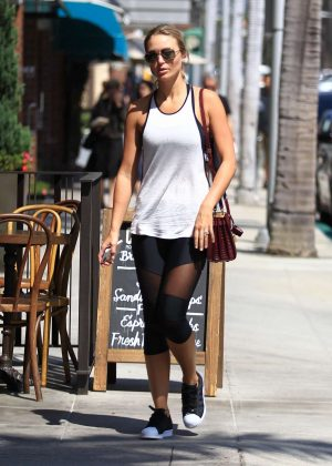 Alex Gerrard in Tights Leaves the gym in Beverly Hills