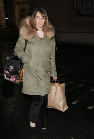 Alex Jones - In parka coat after appearing on The One Show in London
