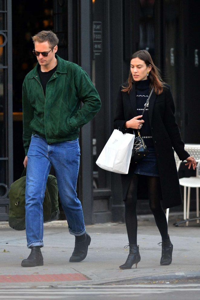 Alexa Chung and Alexander Skarsgard - Out in New York City