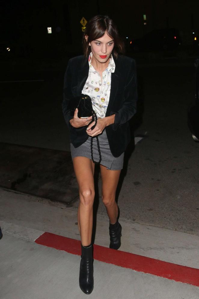 Alexa Chung in Mini Skirt at Harry Styles Birthday Party in West Hollywood