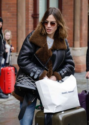 Alexa Chung Arriving at King Cross St Pancras in London