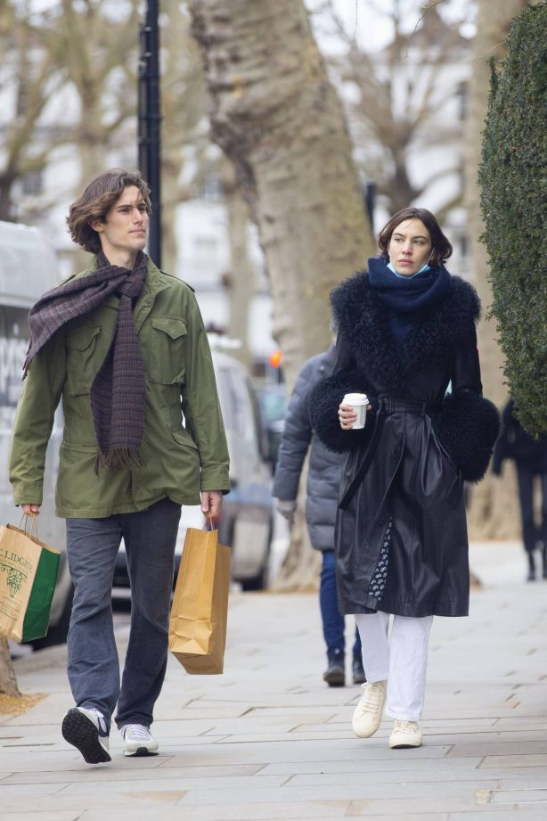 Alexa Chung - In a leather coat out with boyfriend Orson Fry in London