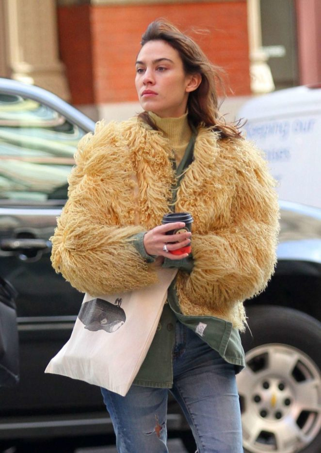 Alexa Chung in Fur Caot Out in New York