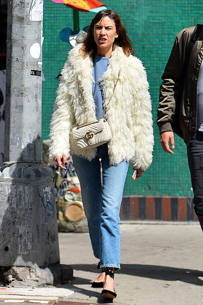 Alexa Chung in Fur Coat out in New York