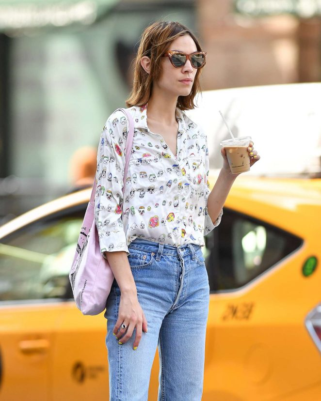 Alexa Chung in Jeans out in New York City