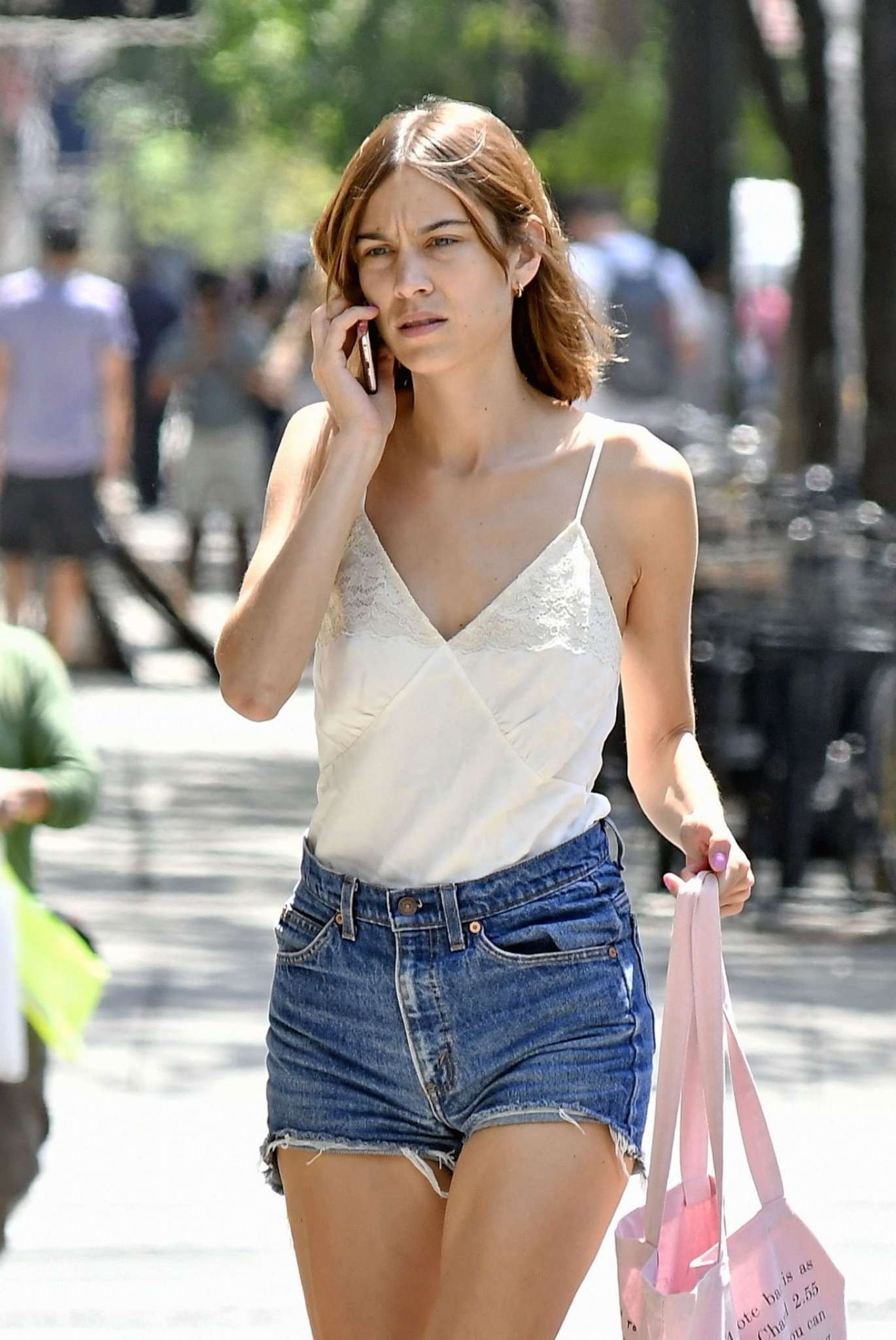 Alexa Chung in Jeans Shorts out in NYC