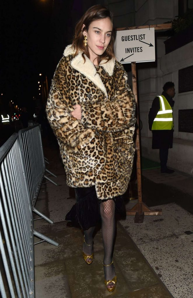 Alexa Chung in Leopard Fur Caot at the NED Hotel in London