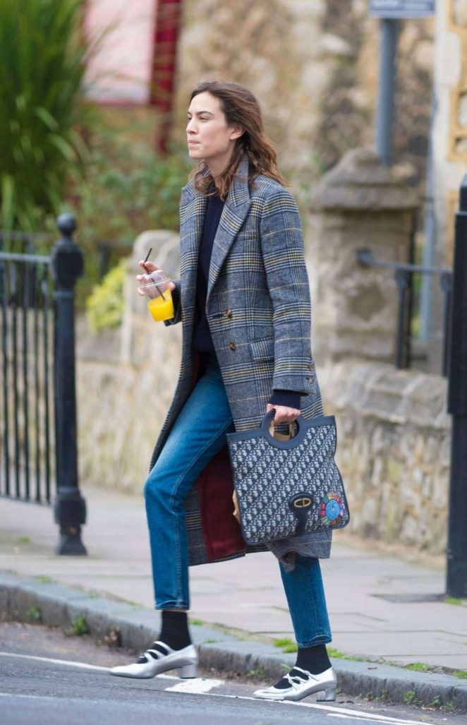 Alexa Chung in Long Gray Coat Out in London
