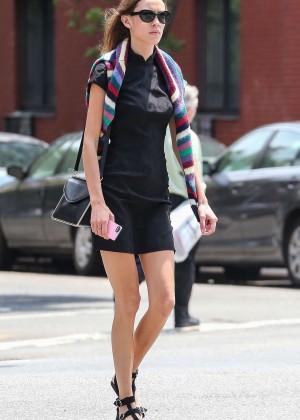 Alexa Chung in Mini Dress Out in NYC