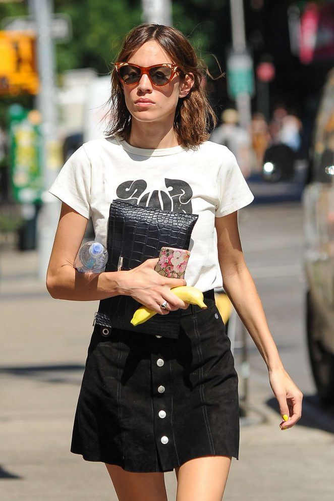 Alexa Chung in Mini Skirt out in New York City