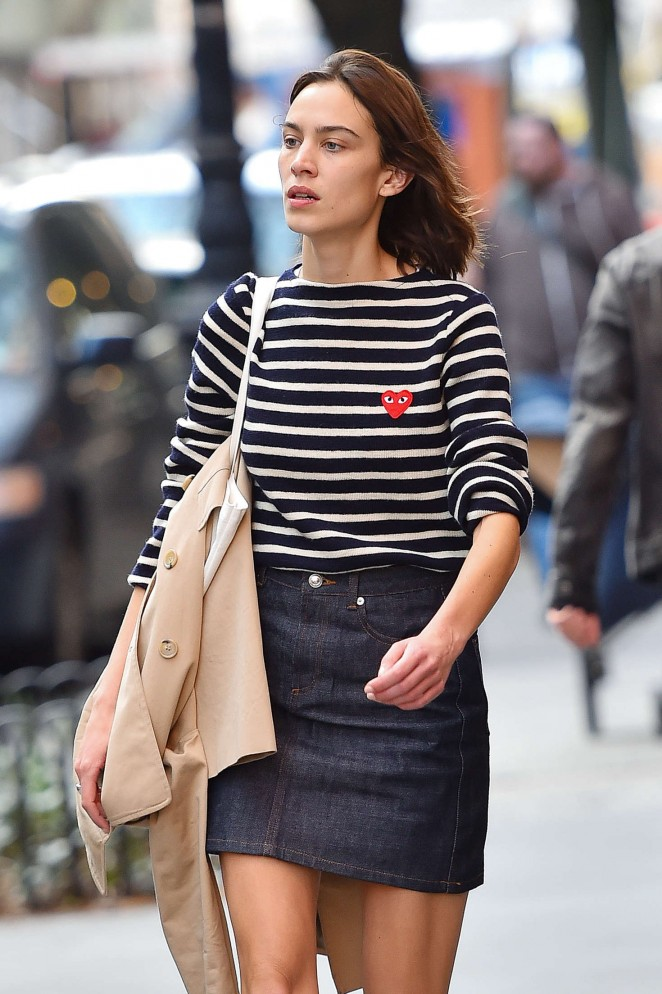 Alexa Chung in Mini Skirt out in New York