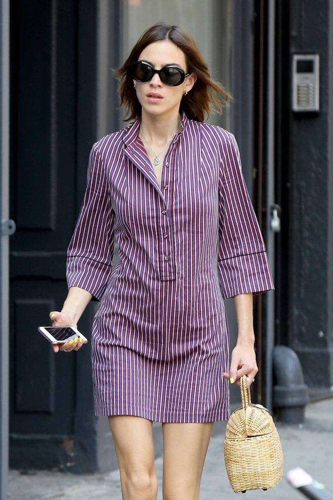 Alexa Chung in Purple Mini Dress Out in New York City