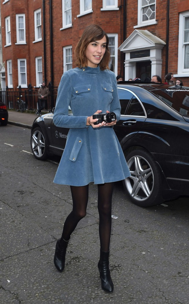 Alexa Chung in Blue Mini Dress Out in London