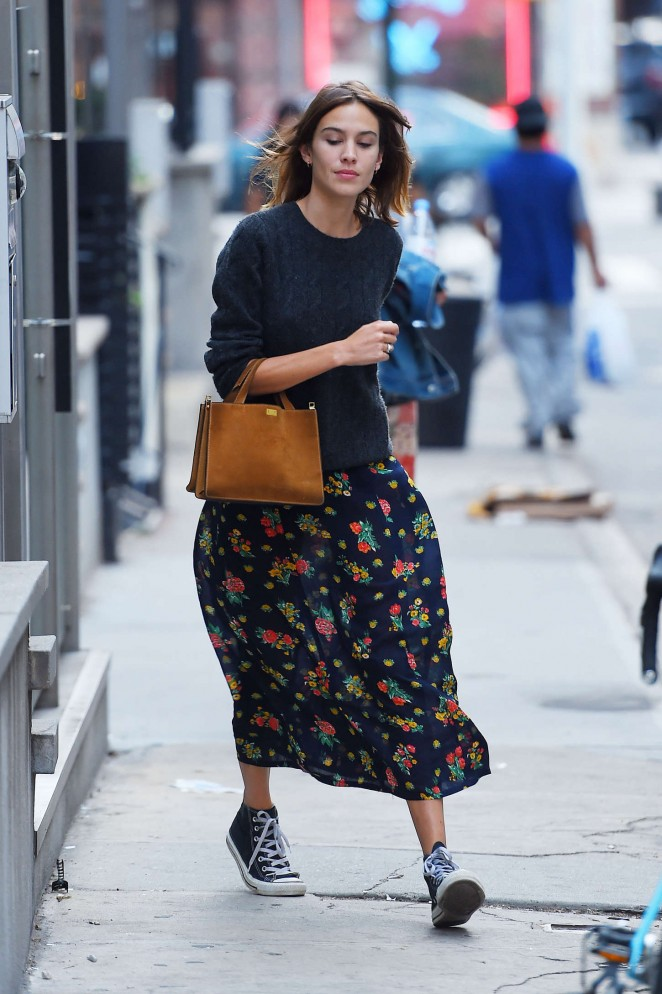 Alexa Chung in Floral Dress Out in NYC