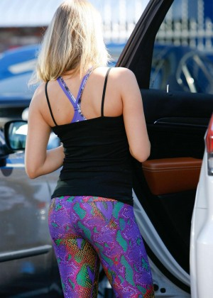 Alexa Vega in Purple Tights at DWTS Studio in Hollywood