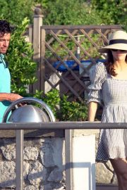 Alexandra Daddario and Brendan Wallace on a yacht in Capri