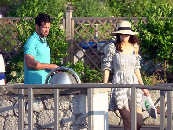 Alexandra Daddario and Brendan Wallace on a yacht in Capri