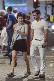 Alexandra Daddario and Brendan Wallace - Out for dinner at Pierluigi in Rome