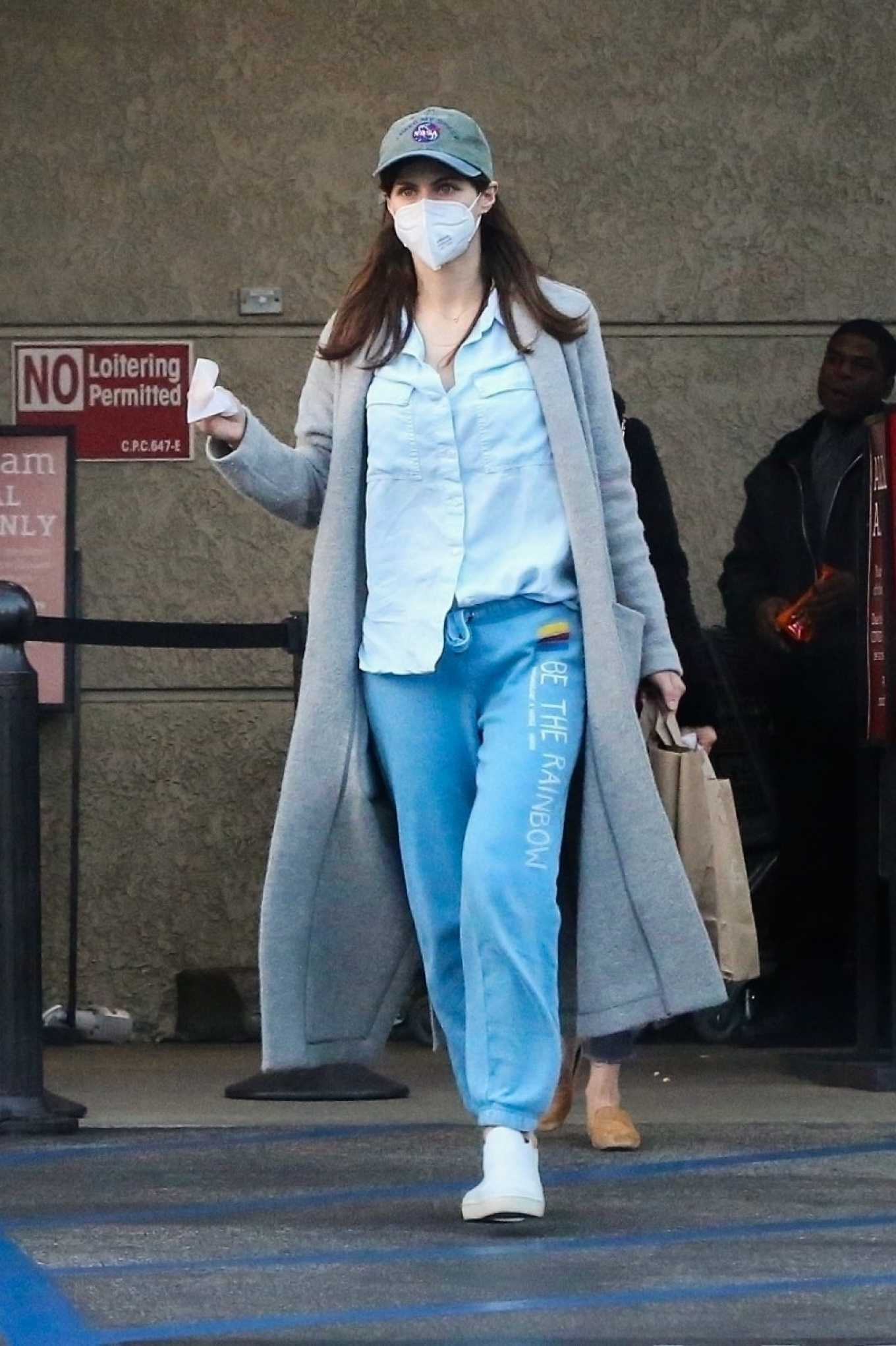 Alexandra Daddario - Dons a face mask while shopping in Los Angeles