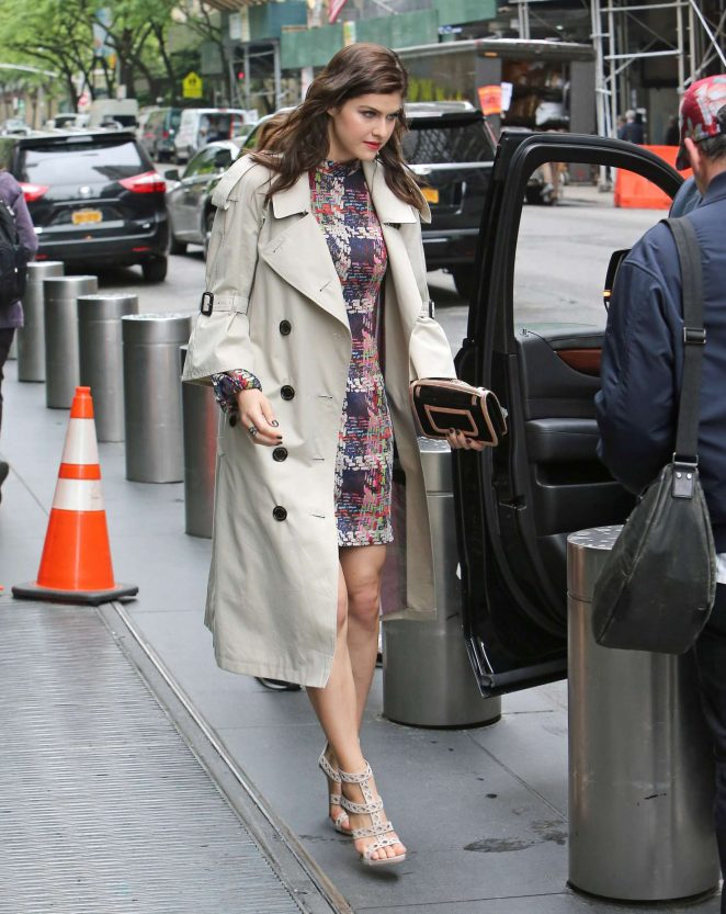 Alexandra Daddario in a colorful mini dress leaving her hotel in NY