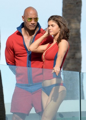 Alexandra Daddario in Bikini Bottom on Baywatch set -05