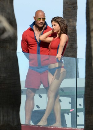 Alexandra Daddario in Bikini Bottom on Baywatch set -11