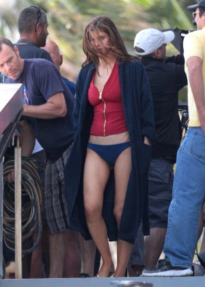 Alexandra Daddario in Bikini Bottom on Baywatch set -22