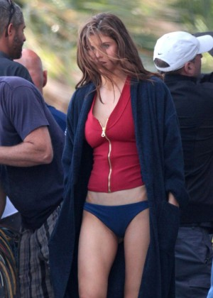 Alexandra Daddario in Bikini Bottom on Baywatch set -23