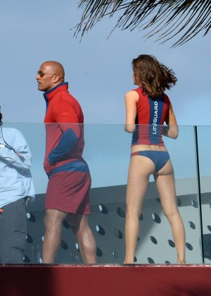 Alexandra Daddario in Bikini Bottom on Baywatch set -24