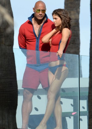 Alexandra Daddario in Bikini Bottom on Baywatch set -28