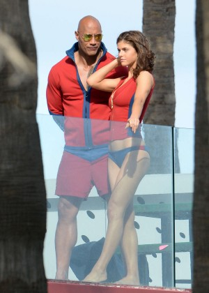 Alexandra Daddario in Bikini Bottom on Baywatch set -32