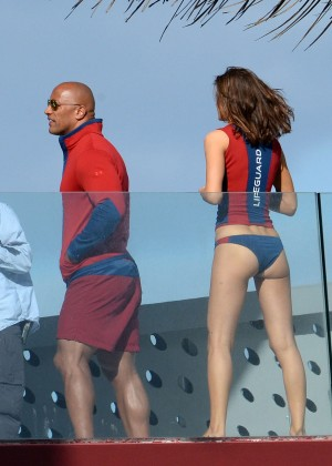 Alexandra Daddario in Bikini Bottom on Baywatch set -34